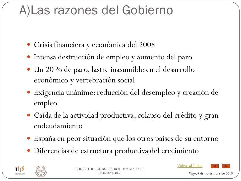A)Las razones del Gobierno