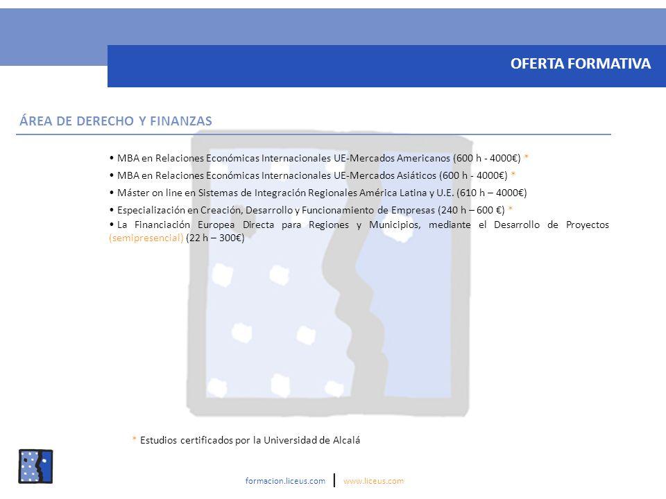 OFERTA FORMATIVA ÁREA DE DERECHO Y FINANZAS