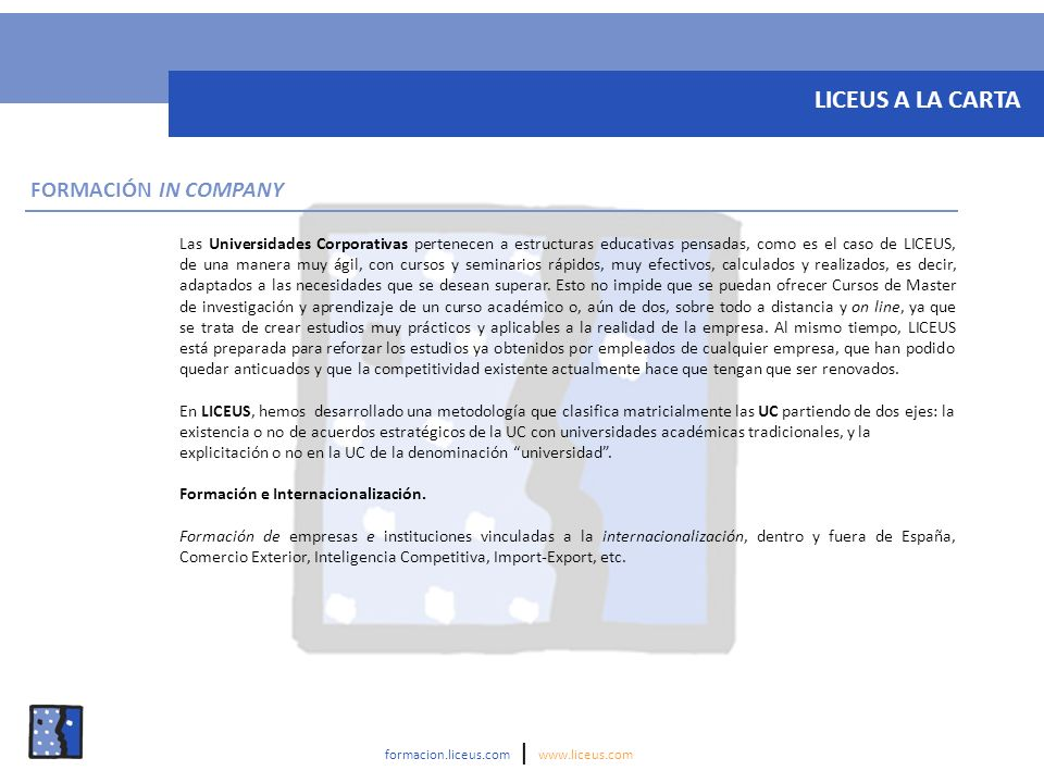 LICEUS A LA CARTA FORMACIÓN IN COMPANY