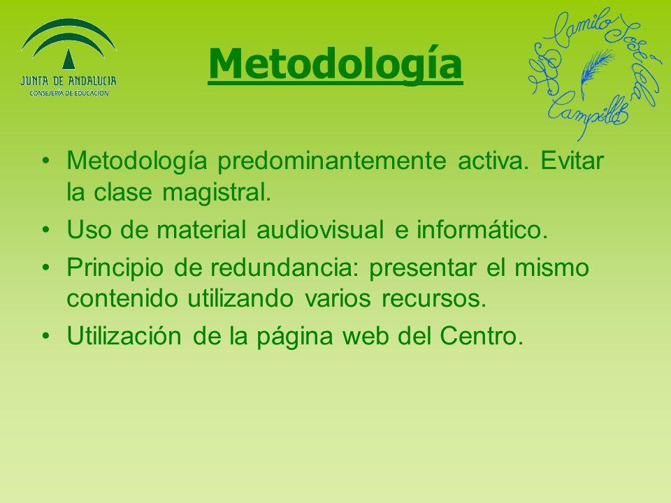 Metodología Metodología predominantemente activa. Evitar la clase magistral. Uso de material audiovisual e informático.