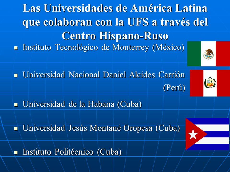 Las Universidades de América Latina que colaboran con la UFS a través del Centro Hispano-Ruso