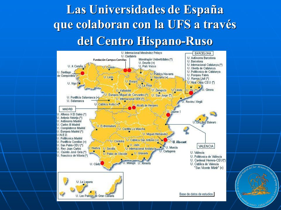 Las Universidades de España que colaboran con la UFS a través