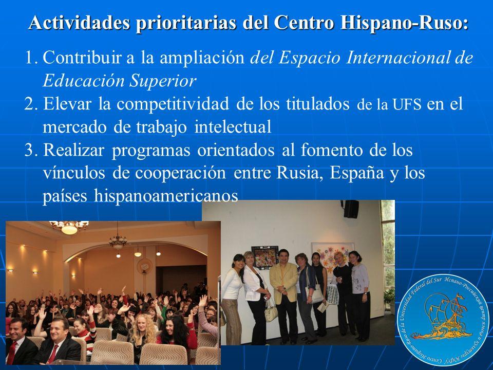 Actividades prioritarias del Centro Hispano-Ruso: