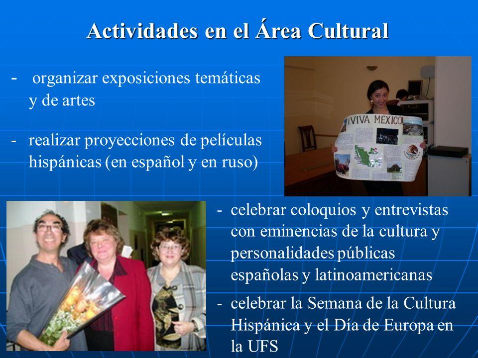 Actividades en el Área Cultural