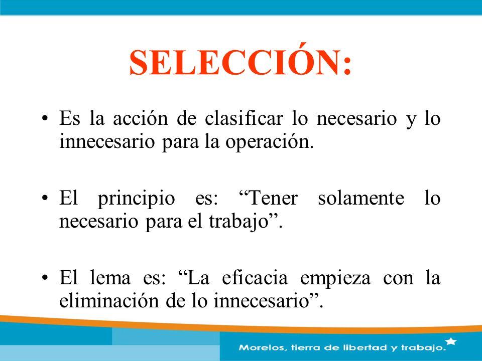 SELECCIÓN: Es la acción de clasificar lo necesario y lo innecesario para la operación.