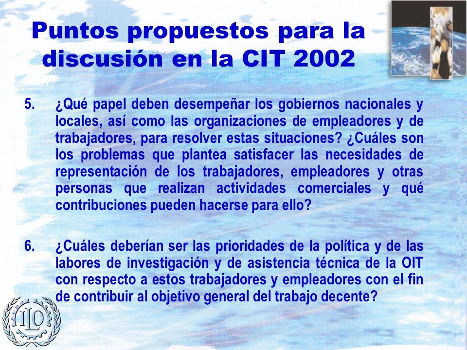 Puntos propuestos para la discusión en la CIT 2002