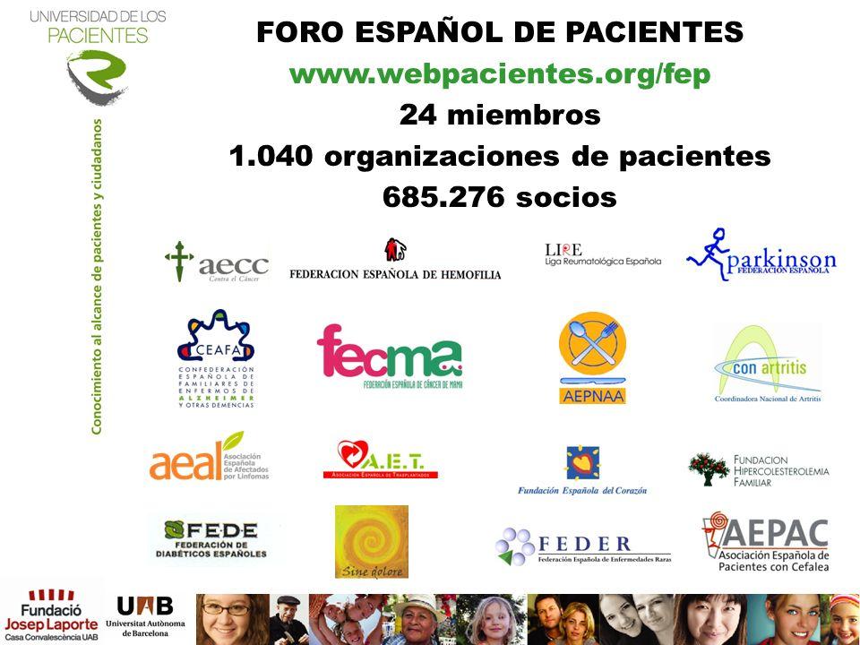 FORO ESPAÑOL DE PACIENTES www.webpacientes.org/fep 24 miembros