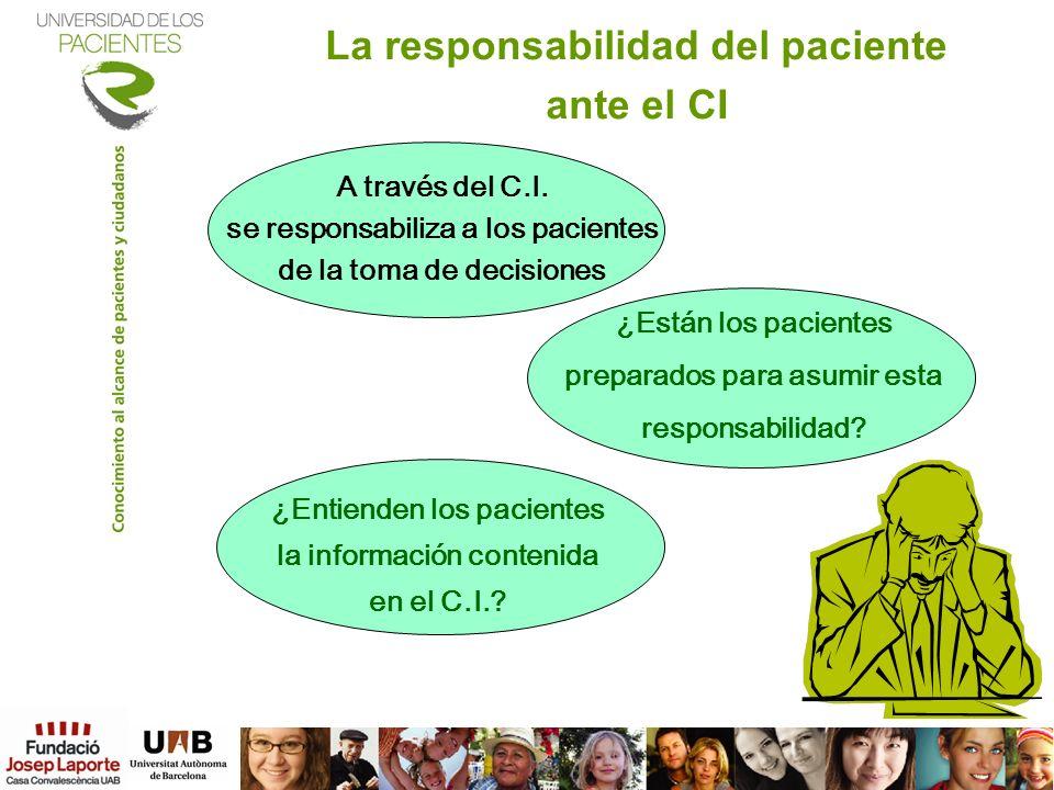 La responsabilidad del paciente ante el CI