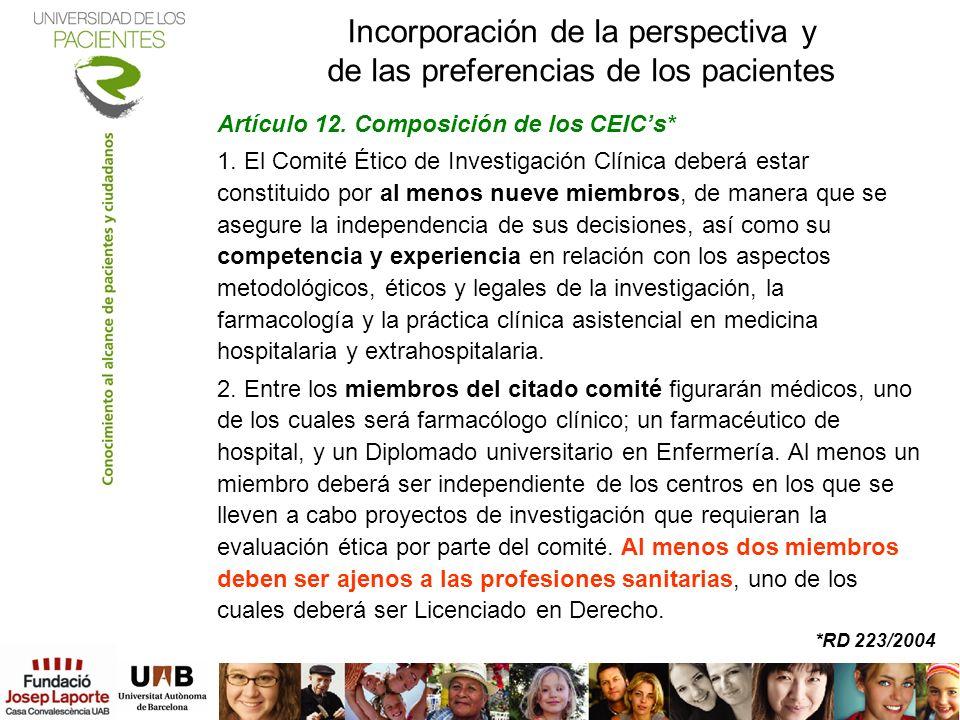 Incorporación de la perspectiva y de las preferencias de los pacientes