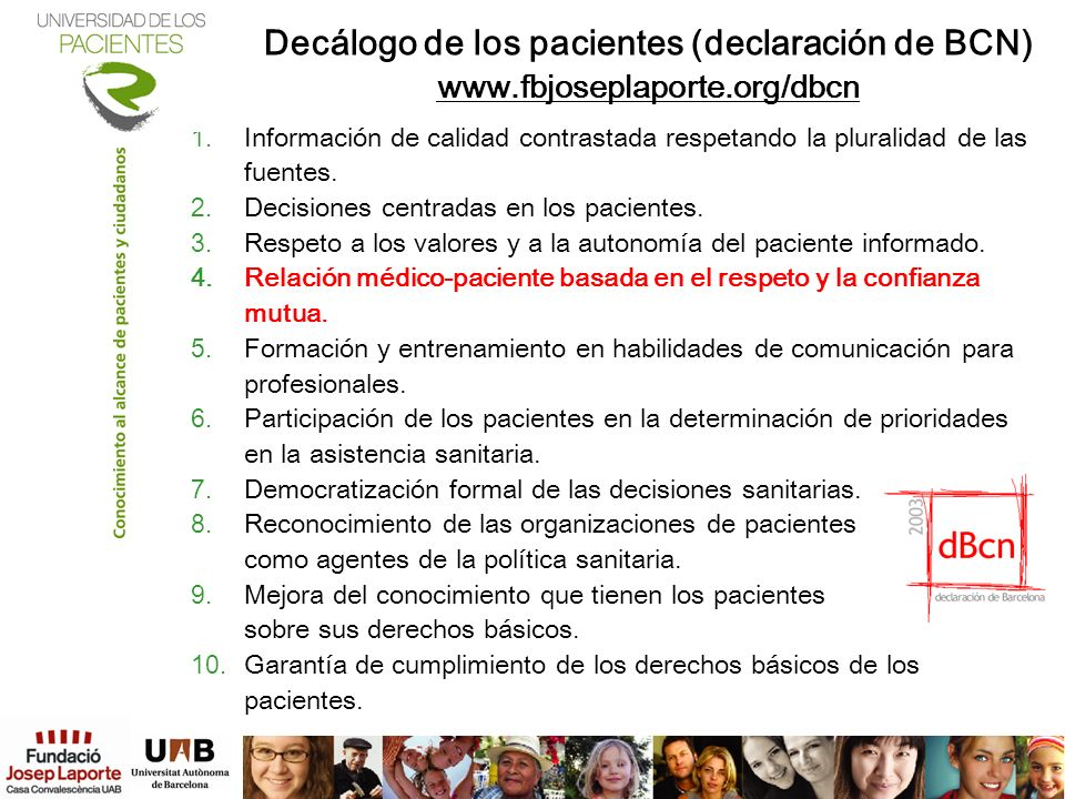 Decálogo de los pacientes (declaración de BCN)
