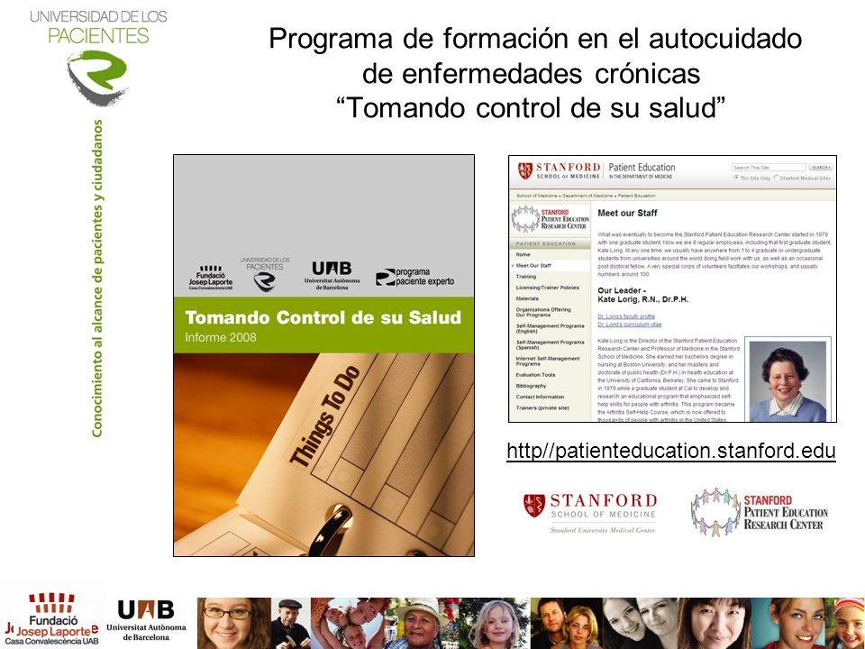 Programa de formación en el autocuidado de enfermedades crónicas Tomando control de su salud
