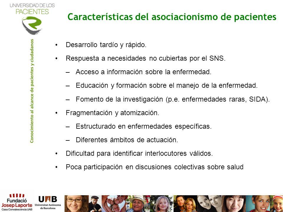 Características del asociacionismo de pacientes