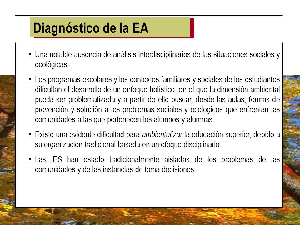 Diagnóstico de la EA Una notable ausencia de análisis interdisciplinarios de las situaciones sociales y ecológicas.