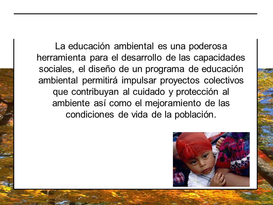 La educación ambiental es una poderosa herramienta para el desarrollo de las capacidades sociales, el diseño de un programa de educación ambiental permitirá impulsar proyectos colectivos que contribuyan al cuidado y protección al ambiente así como el mejoramiento de las condiciones de vida de la población.