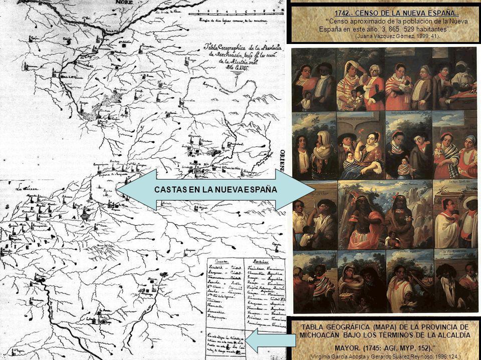 1742.- CENSO DE LA NUEVA ESPAÑA.- CASTAS EN LA NUEVA ESPAÑA