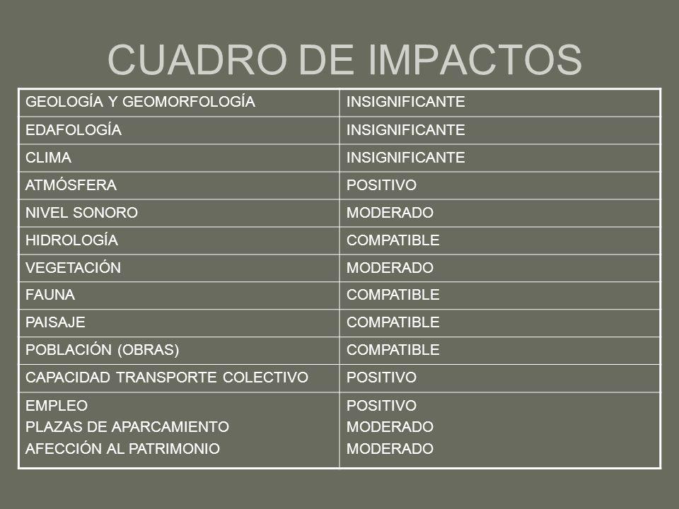 CUADRO DE IMPACTOS GEOLOGÍA Y GEOMORFOLOGÍA INSIGNIFICANTE EDAFOLOGÍA