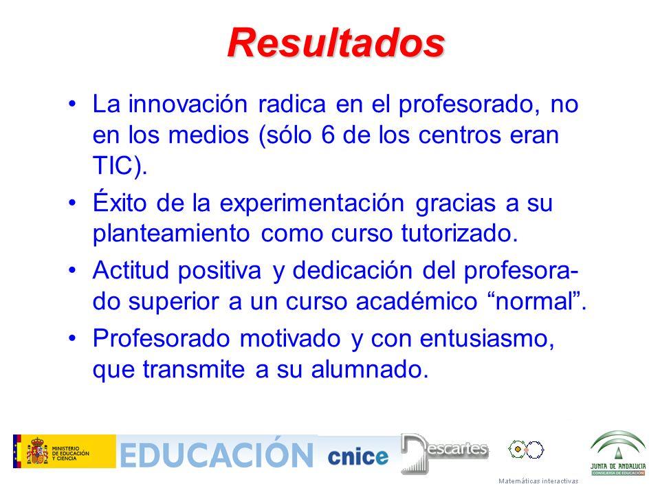 Resultados La innovación radica en el profesorado, no en los medios (sólo 6 de los centros eran TIC).