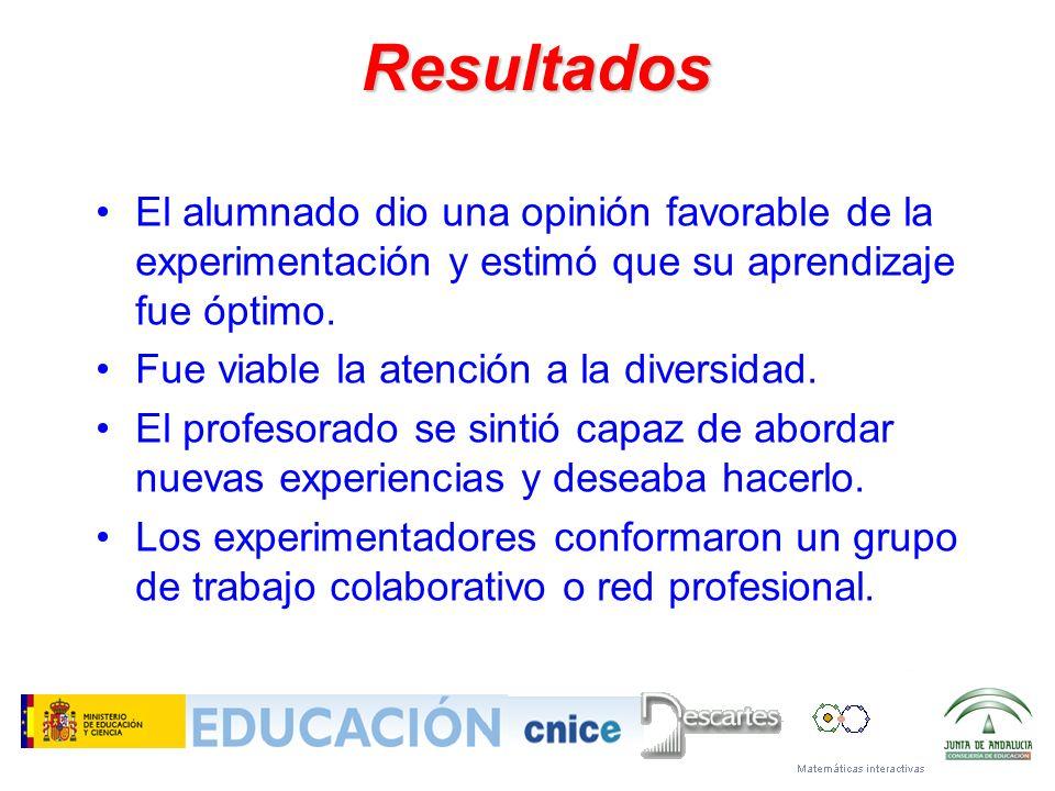 Resultados El alumnado dio una opinión favorable de la experimentación y estimó que su aprendizaje fue óptimo.
