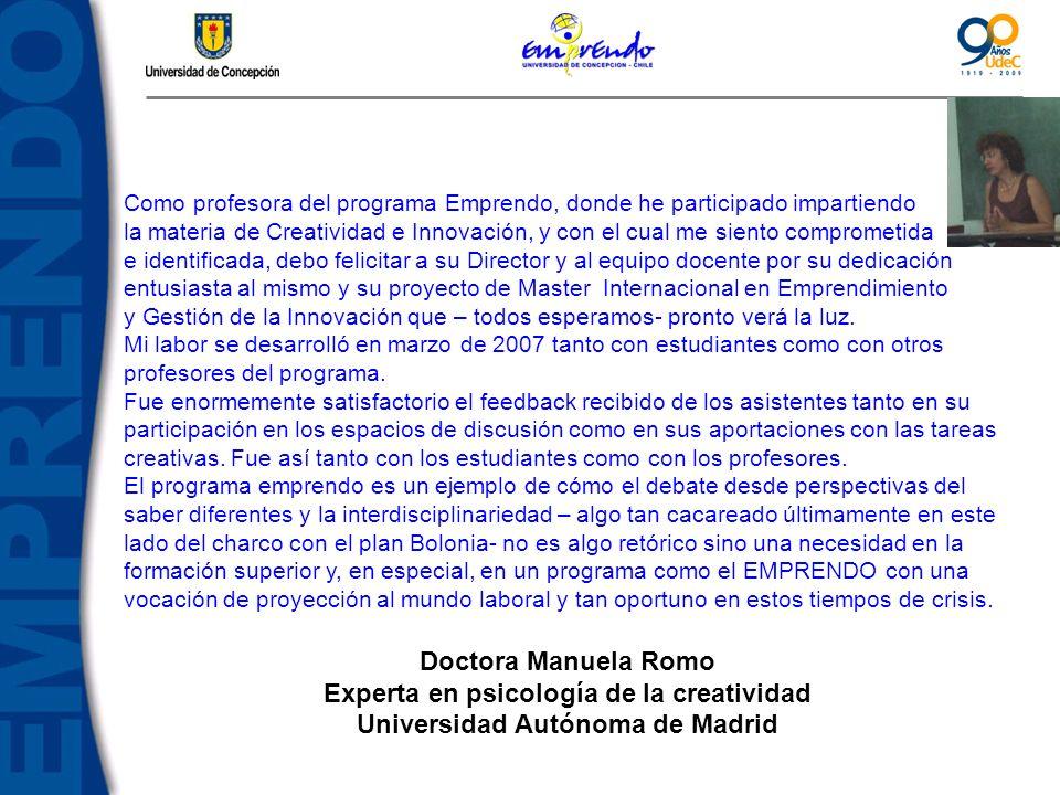 Experta en psicología de la creatividad Universidad Autónoma de Madrid