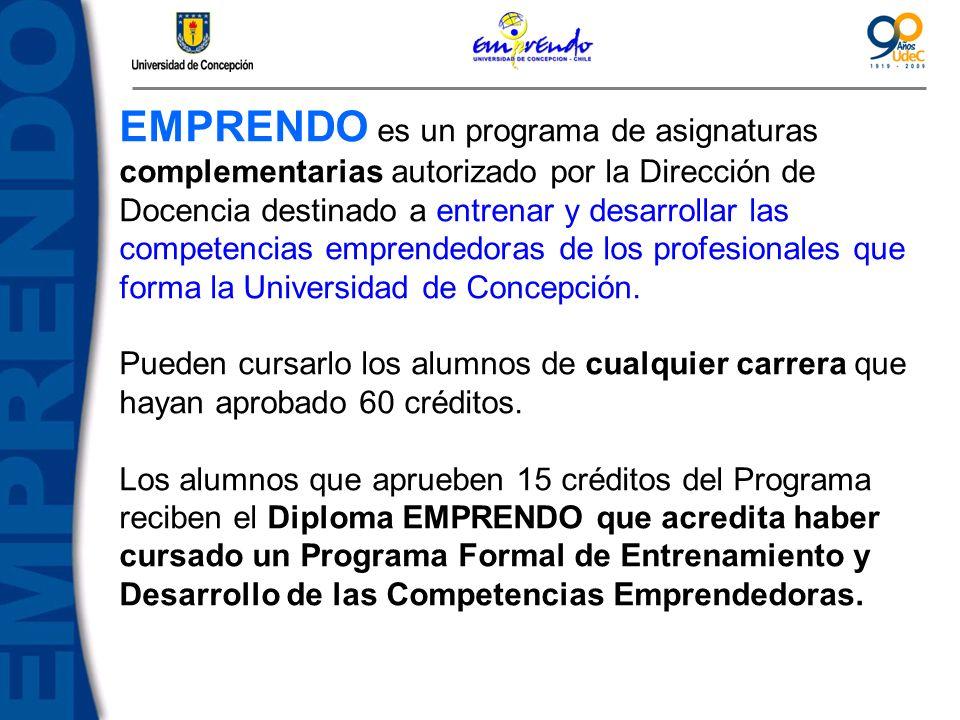 EMPRENDO es un programa de asignaturas complementarias autorizado por la Dirección de