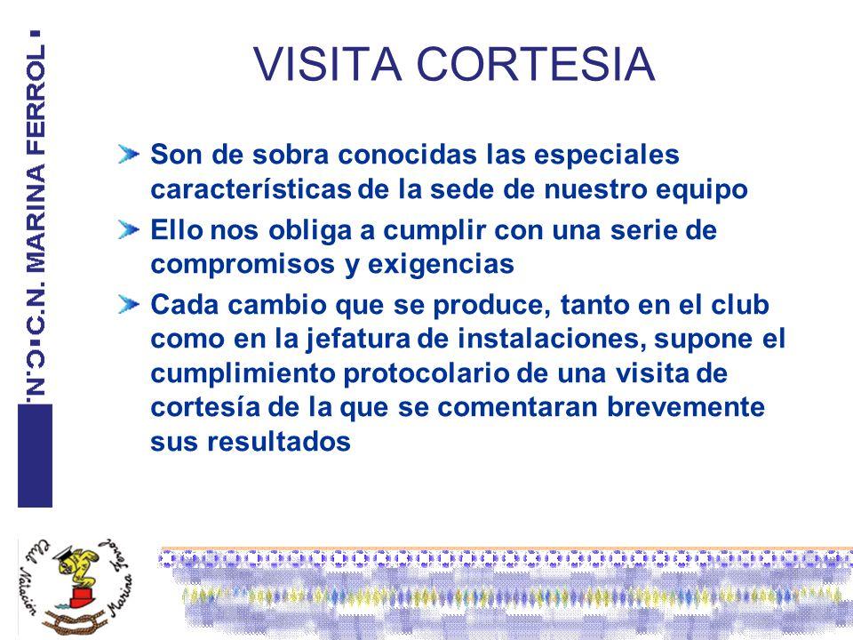 VISITA CORTESIA Son de sobra conocidas las especiales características de la sede de nuestro equipo.