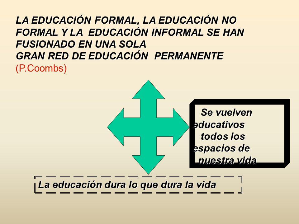 LA EDUCACIÓN FORMAL, LA EDUCACIÓN NO FORMAL Y LA EDUCACIÓN INFORMAL SE HAN FUSIONADO EN UNA SOLA
