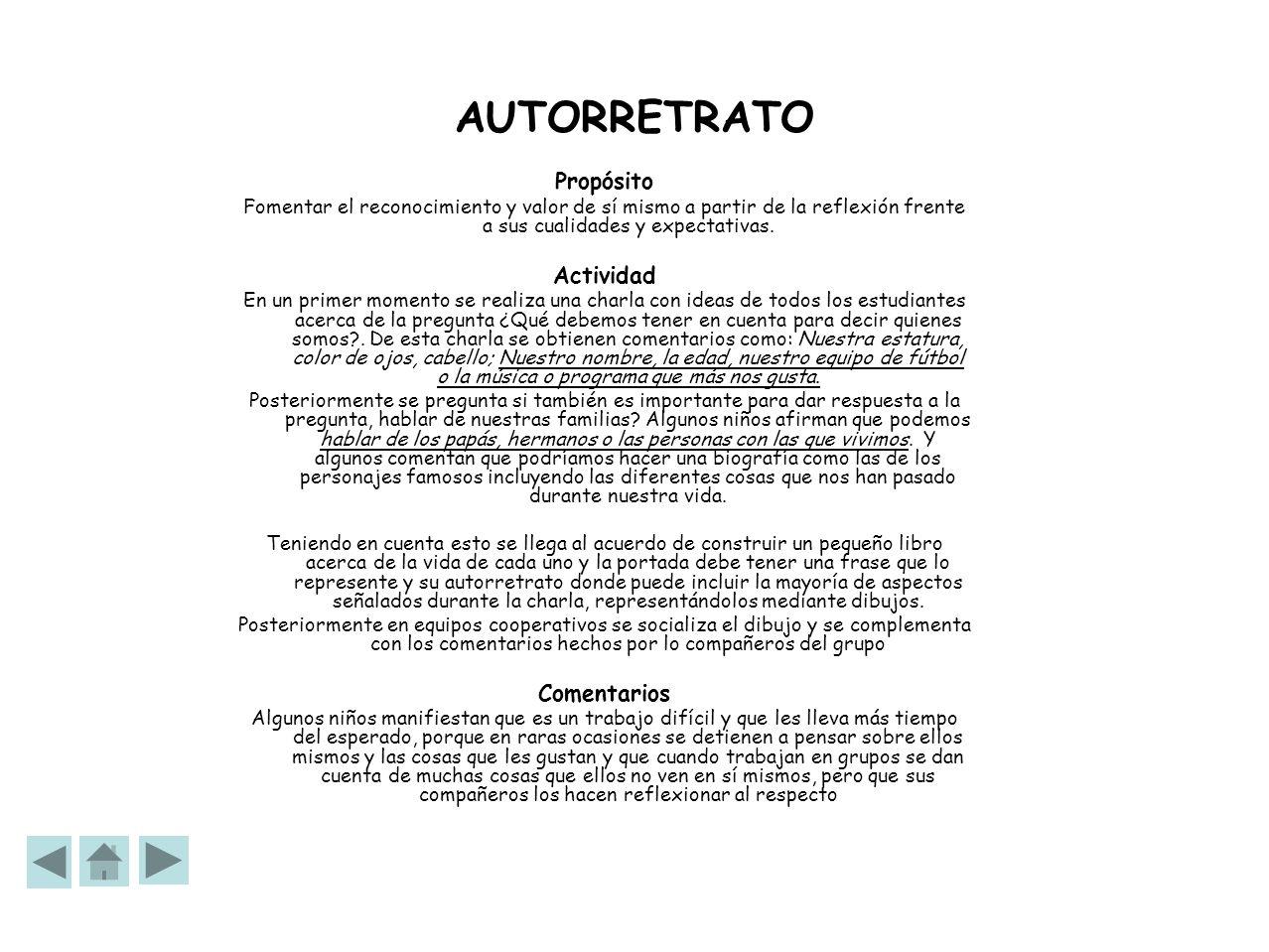 AUTORRETRATO Propósito Actividad Comentarios