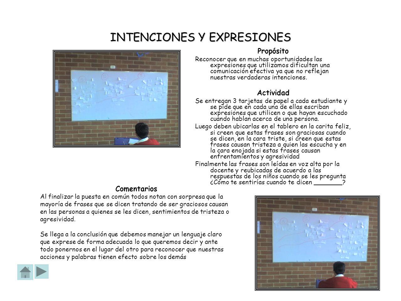 INTENCIONES Y EXPRESIONES
