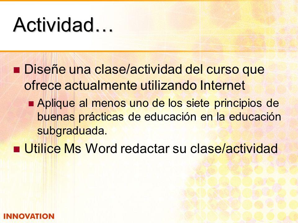 Actividad… Diseñe una clase/actividad del curso que ofrece actualmente utilizando Internet.
