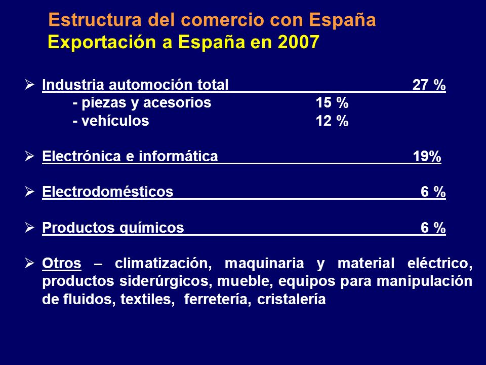 Estructura del comercio con España