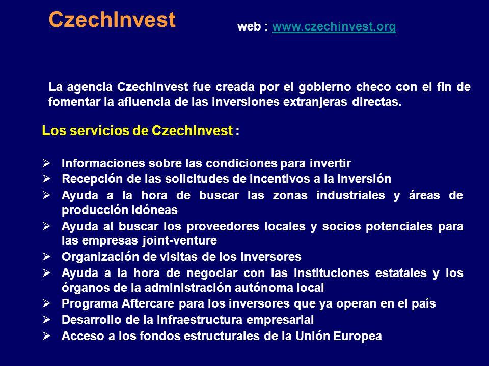 CzechInvest Los servicios de CzechInvest :