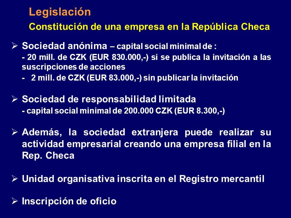 Legislación Constitución de una empresa en la República Checa