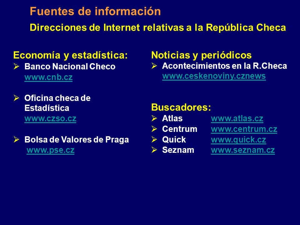 Direcciones de Internet relativas a la República Checa
