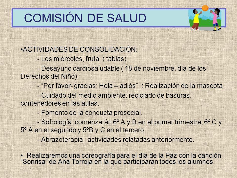 COMISIÓN DE SALUD ACTIVIDADES DE CONSOLIDACIÓN:
