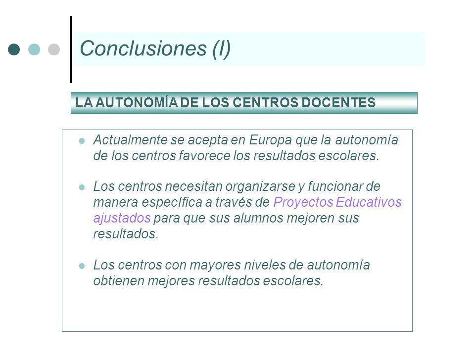 Conclusiones (I) LA AUTONOMÍA DE LOS CENTROS DOCENTES
