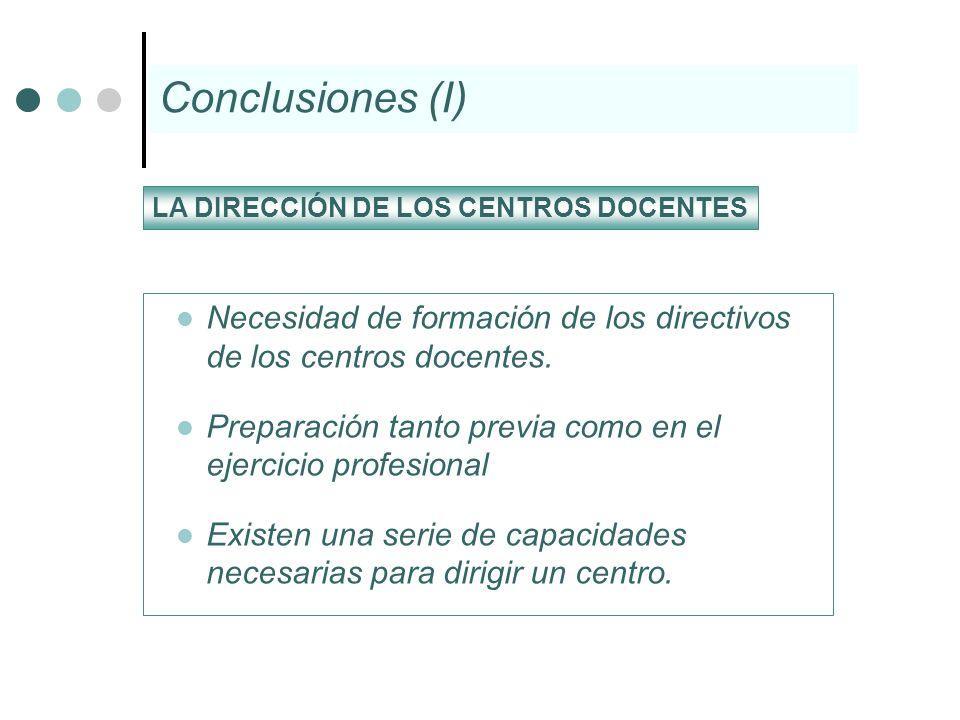 Conclusiones (I) LA DIRECCIÓN DE LOS CENTROS DOCENTES. Necesidad de formación de los directivos de los centros docentes.