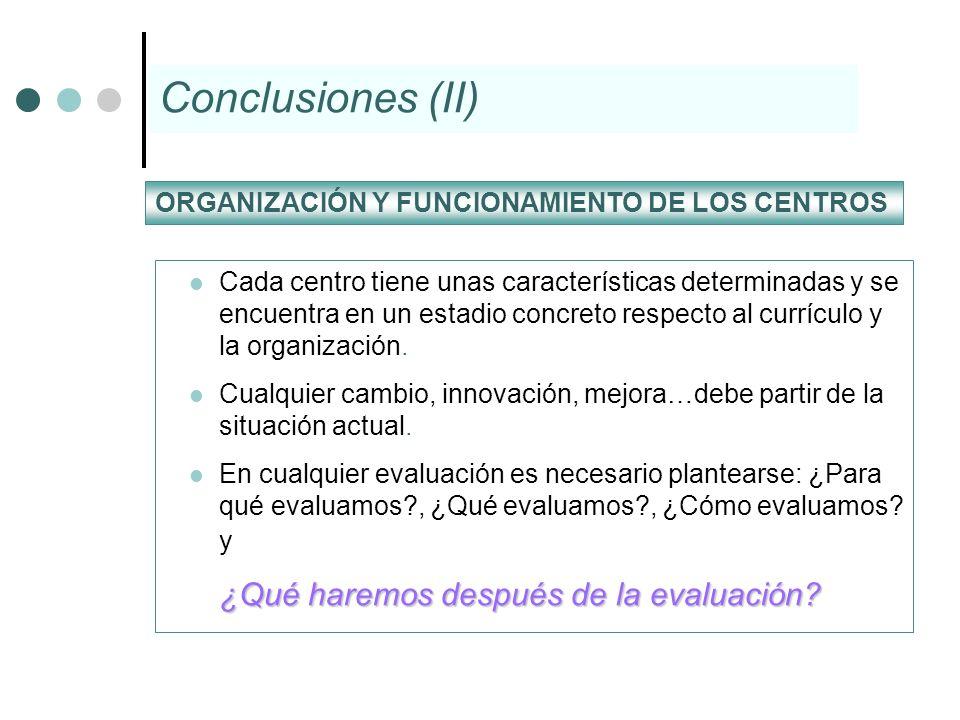 Conclusiones (II) ¿Qué haremos después de la evaluación