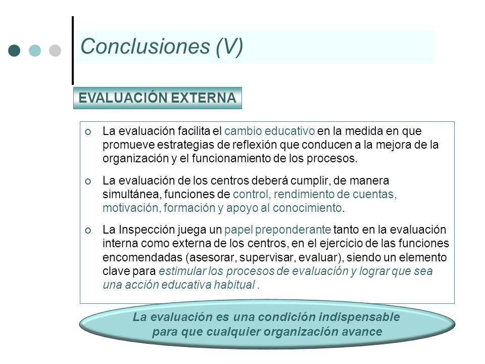 Conclusiones (V) EVALUACIÓN EXTERNA