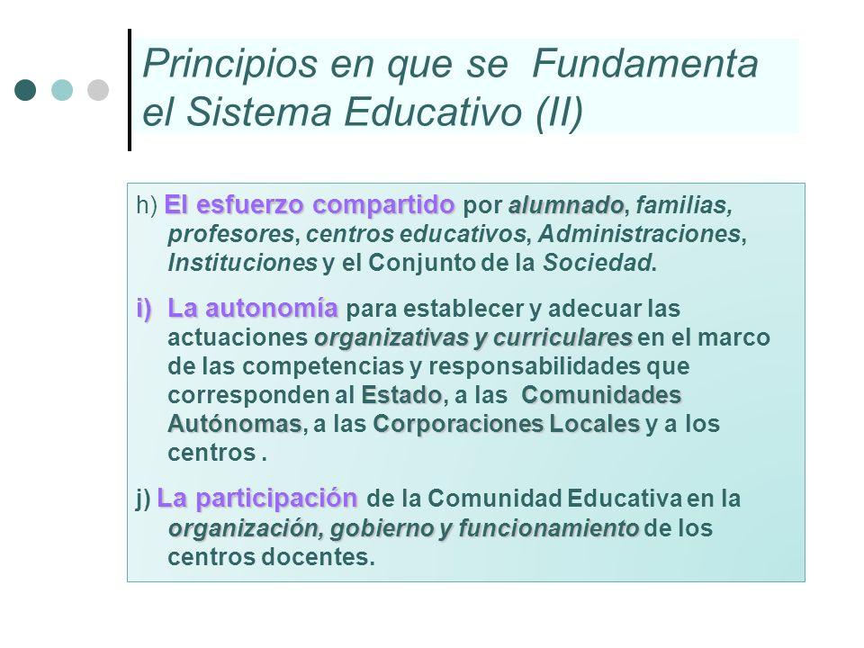 Principios en que se Fundamenta el Sistema Educativo (II)