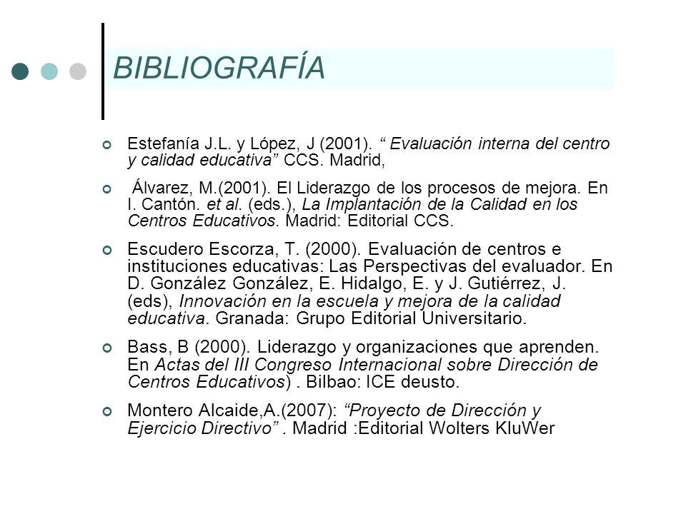 BIBLIOGRAFÍA Estefanía J.L. y López, J (2001). Evaluación interna del centro y calidad educativa CCS. Madrid,