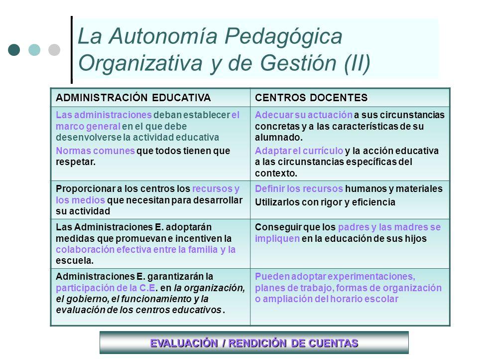 La Autonomía Pedagógica Organizativa y de Gestión (II)