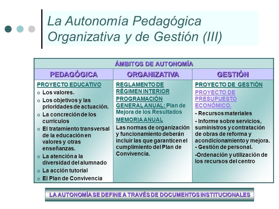 LA AUTONOMÍA SE DEFINE A TRAVÉS DE DOCUMENTOS INSTITUCIONALES