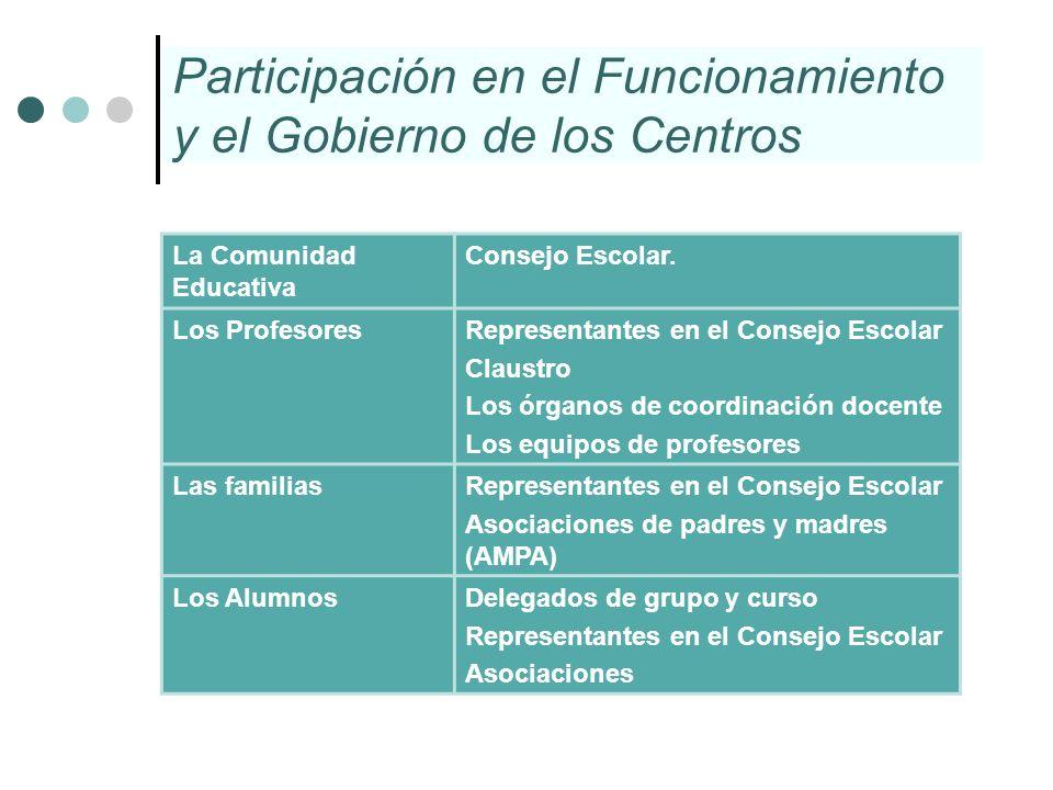 Participación en el Funcionamiento y el Gobierno de los Centros