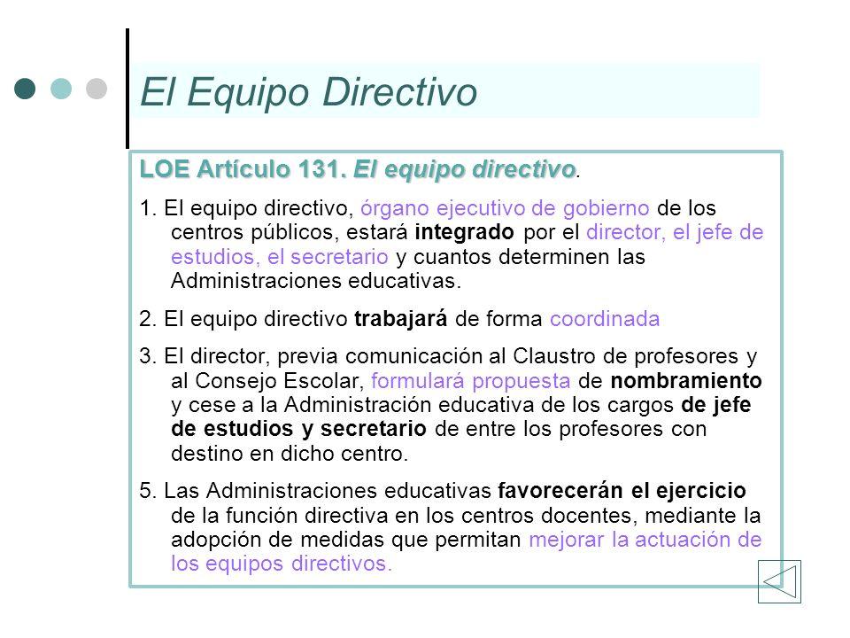 El Equipo Directivo LOE Artículo 131. El equipo directivo.