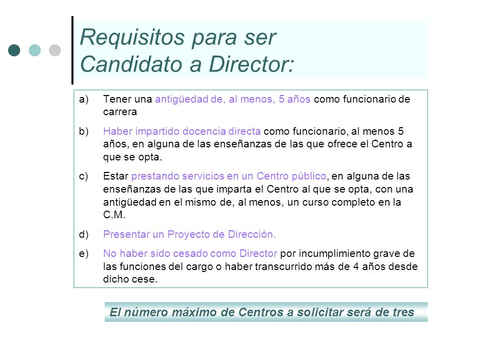 Requisitos para ser Candidato a Director: