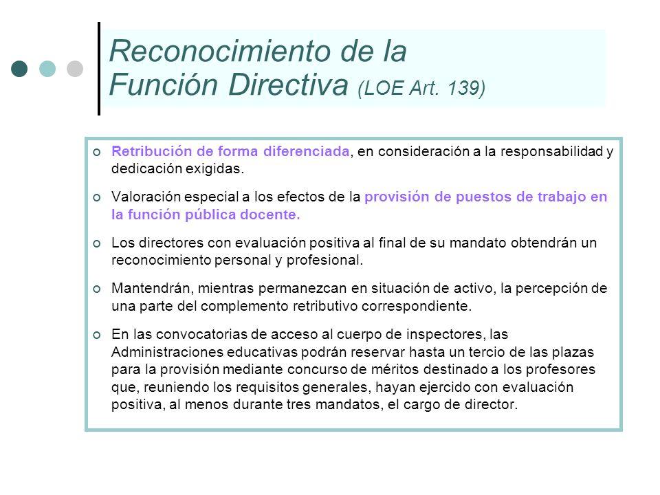 Reconocimiento de la Función Directiva (LOE Art. 139)