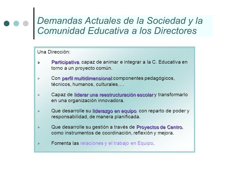 Demandas Actuales de la Sociedad y la Comunidad Educativa a los Directores