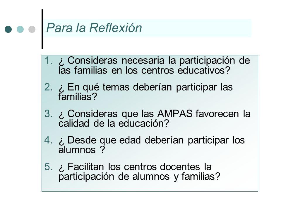 Para la Reflexión ¿ Consideras necesaria la participación de las familias en los centros educativos