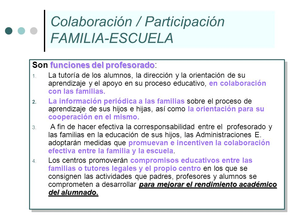 Colaboración / Participación FAMILIA-ESCUELA