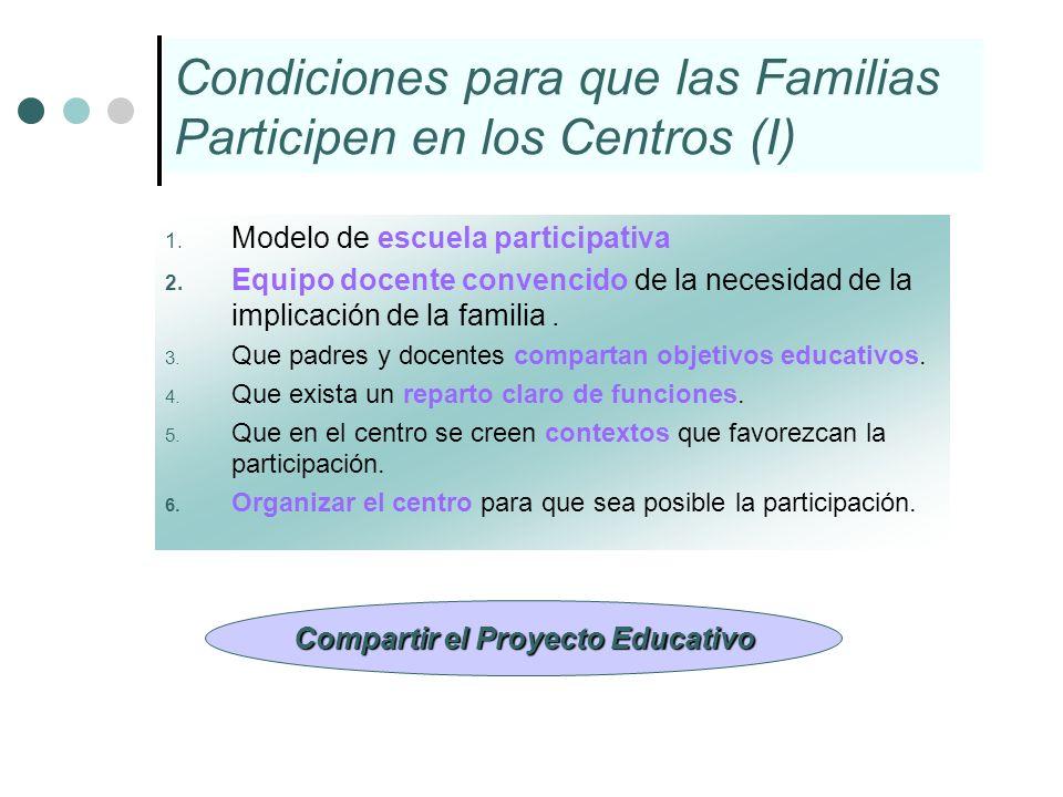 Condiciones para que las Familias Participen en los Centros (I)